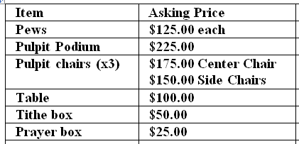 pew price list